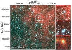 The infrared image on the left shows the field of view of the Parkes radio telescope with the area where the signal came from marked in cyan. On the right are successive zoom-ins on that area. At the bottom right is the Subaru optical image of the FRB galaxy, with the superimposed elliptical regions showing the location of the fading 6-day afterglow seen with ATCA.