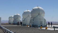 Four domes of the 1.8 metre Auxiliary Telescopes(AT), utilized for the Very Large Telescope Interferometer (VLTI). ESO, Cerro Paranal, Chile.