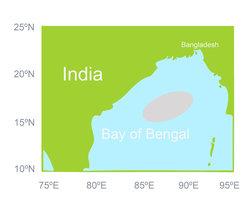 Der Golf von Bengalen mit dem grau unterlegten Untersuchungsgebiet.