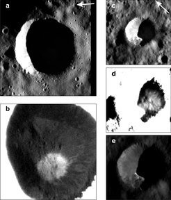 <p>Crater No. 1, whose interior has a large region in permanent darkness <strong>(a)</strong>. In the weak scattered light, the framing cameras can make out bright deposits of ice <strong>(b)</strong>. Crater No. 2 with its dark region is shown in Figures <strong>(c)</strong> to <strong>(e)</strong>. The ice shown in <strong>(d)</strong> extends into the region with direct illumination <strong>(e)</strong>.</p>
