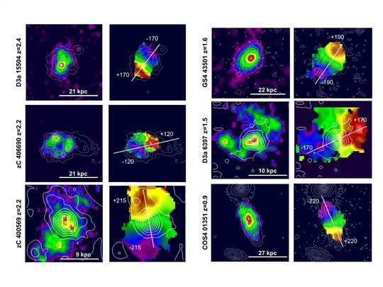 Galaxies in focus: for each galaxy, the left column shows the distribution of the total surface brightness in the Hα line. The right column gives the