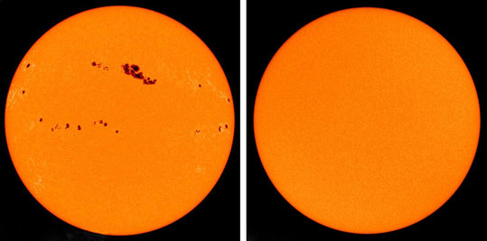 Solar cycle: <span>Solar irradiance is not constant</span><span>. </span>The brightness of our Sun varies over an approx. eleven-year period, in which the number of sunspots also varies. The image on the left is from 2001 (solar maximum), the one on the right from 2009 (solar minimum).