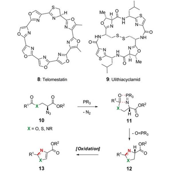 Ringschlussvorläufer 11 geht aus der Reaktion des Azids 10 mit einem geeigneten Phosphin hervor und bildet unter Abspaltung eines Phosphinoxids den He