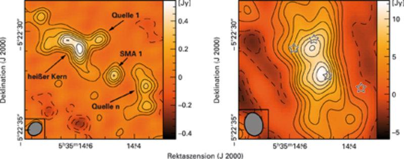 Die neue Karte der Kontinuumsemission bei 440 µm (rechts) im Vergleich zu früheren Beobachtungen mit dem SMA bei 850 µm (links) [2]. Ein wesentlicher