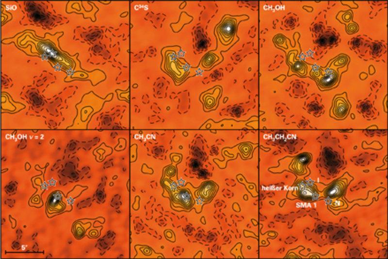 Emissionen einiger Moleküle in Orion KL [4].