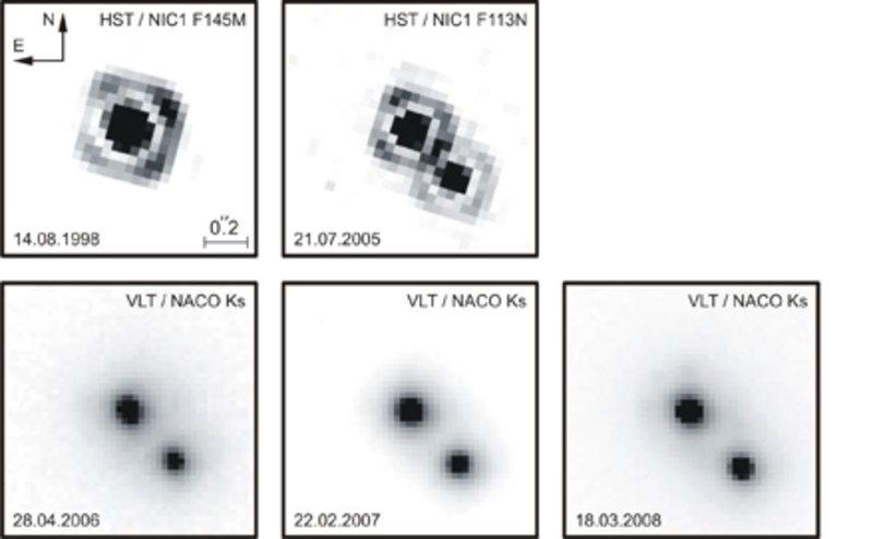 Aufnahmen von Kelu-1, gewonnen mit dem HST Instrument NICMOS sowie mit NACO am VLT.