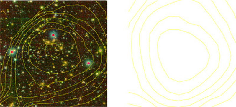 Zwei der insgesamt 220 in COSMOS- Durchmusterung nachgewiesenen Galaxiengruppen und Galaxienhaufen. Links der prominenteste Galaxienhaufen bei einer R
