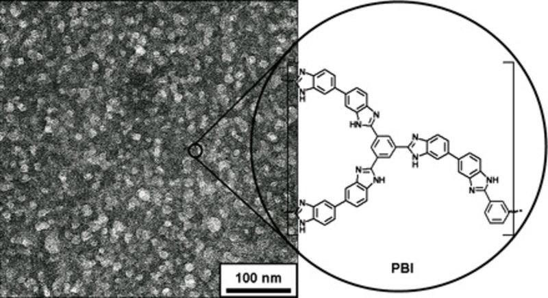 Transmissionselektronenmikroskopie (a) und chemische Struktur (b) von mesoporösem Poly(benzimidazol).