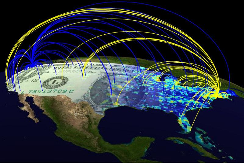 Die Bewegung von Geldnoten in den USA. Jede Linie symbolisiert die geographische Reise einer einzelnen Geldnote zwischen Anfangsort (Seattle: blau, Ne