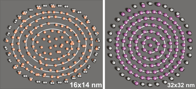 The arrangement of cobalt atoms on a substrate of copper atoms (left) and cerium atoms on a substrate of silver (right), each in a pen of cobalt or ce