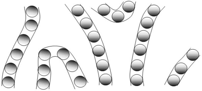 Schnappschuss der magnetisch ungeordneten, leitenden Bereiche in einem elektronischen Flüssigkristall. Sie orientieren sich vorzugsweise entlang der b
