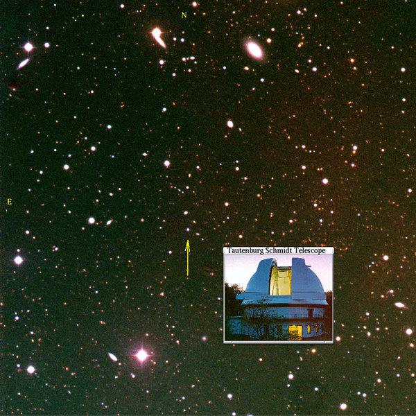 Das optische Nachleuchten (Afterglow) des Gammastrahlen-Ausbruchs GRB 030329, beobachtet mit dem Tautenburger Schmidt Teleskop (Farbkomposit).