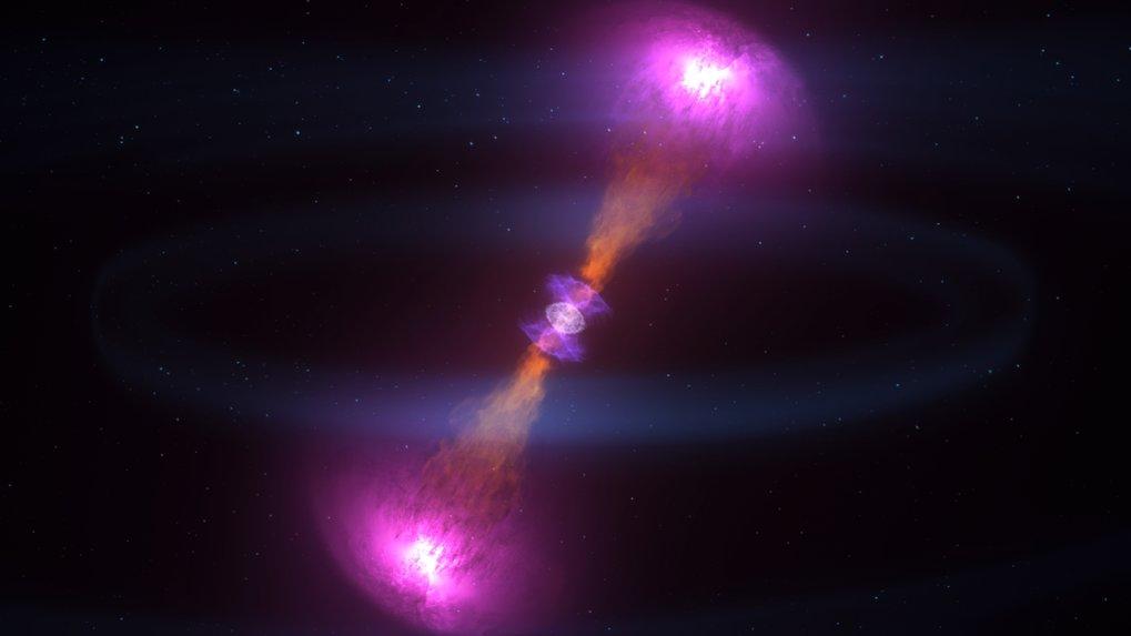 Kosmische Energieschleuder: Wenn Neutronensterne verschmelzen, schleudert die Explosion einen Teil der Materie mit enormen Geschwindigkeiten in riesig