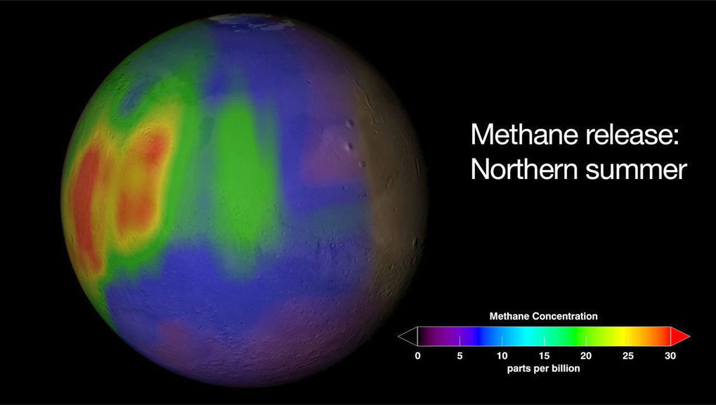 <p>Methane concentration on Mars: This chart depicts the calculated methane concentrations in parts per billion (ppb) on Mars during summer in the Northern hemisphere. Violet and blue are indications for little quantities of methane, red areas for larger ones.</p> <p>  </p>