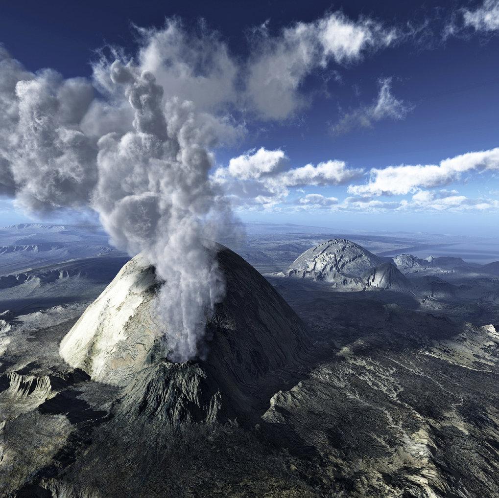 Vulkanausbrüche, wie hier in dieser Animation, stoßen große Mengen an Schwefeldioxid in die Atmosphäre aus. Dies wirkt kühlend auf das Klima. Geo-Engi