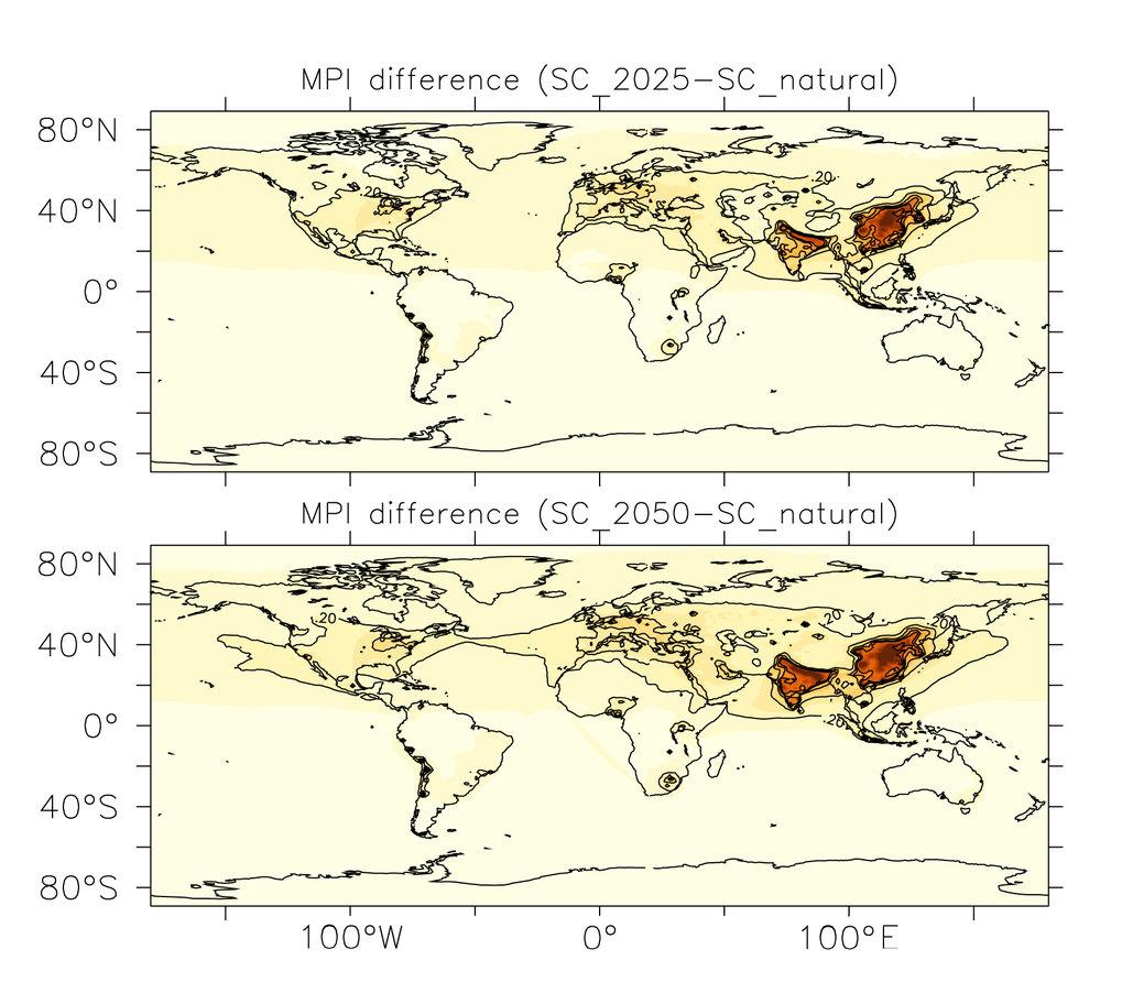 Die Simulationen beschreiben die Luftverschmutzung als weltweites Problem. Die gelbe Grundtönung bedeutet, dass der Grad der Luftverschmutzung die die