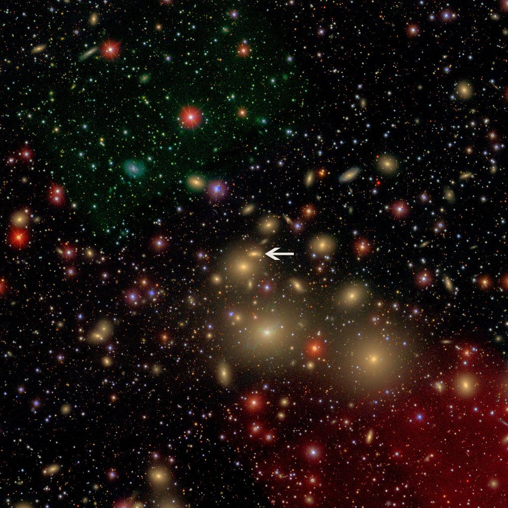 Versammlung der Milchstraßen: Etwa 250 Millionen Lichtjahre ist der Perseushaufen von der Erde entfernt. Die Mitgliedsgalaxie NGC 1277 (Pfeil) erschei