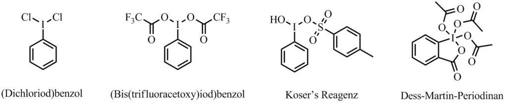 Abb. 1: Strukturen hypervalenter Jodverbindungen