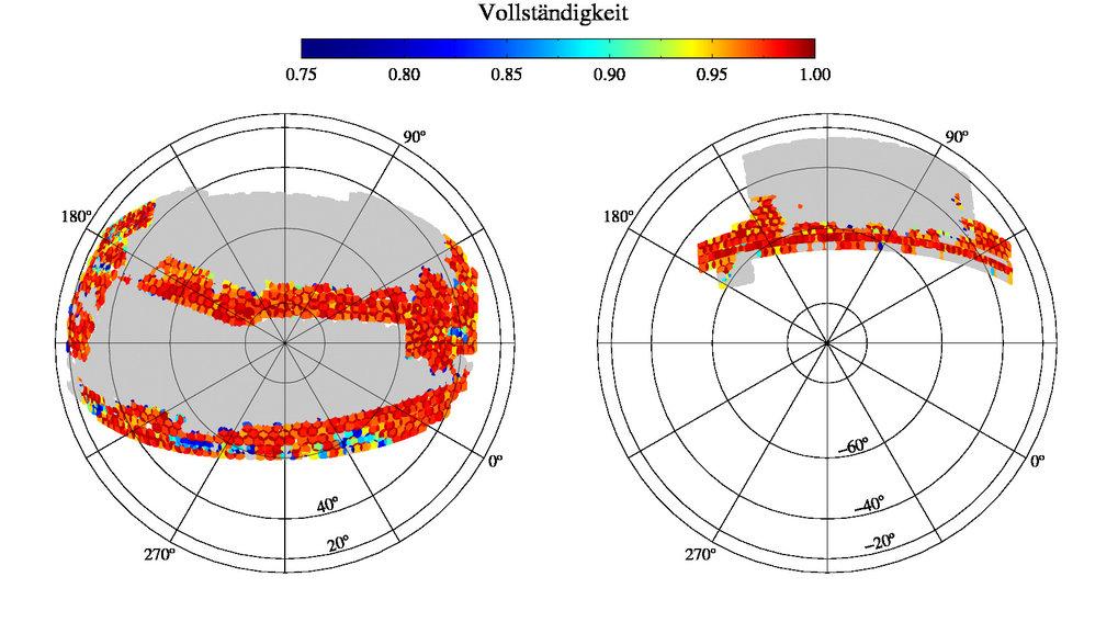<strong>Abb 1:</strong> Erwartete endgültige Himmelsabdeckung von BOSS (grau schattiert) für die nördliche (linkes Bild) und südliche (rechtes Bild) g