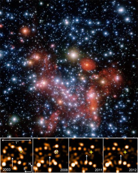 <strong>Abb. 1 </strong>oben: Drei-Farben-Komposit der innersten 25 Bogensekunden um das galaktische Zentrum, aufgenommen mit der adaptiven Optik Kame