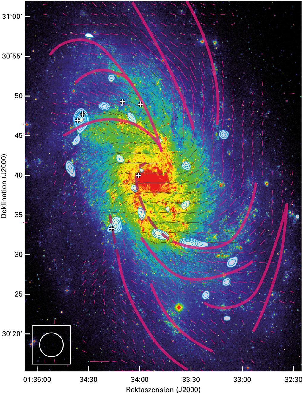 """Abb. 3: Die Positionen der sechs massereichsten GMCs (giant molecular clouds) sind mit einem """"+"""" markiert. Den Hintergrund bildet ein optisches Bild v"""