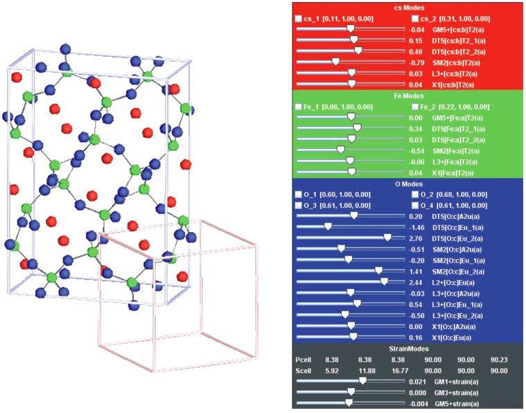 <strong>Abb. 2:</strong> Orthorhombische Einheitszelle von CsFeO<sub>2</sub>. Zusätzlich ist die kubische Einheitszelle dargestellt, welche die höhers
