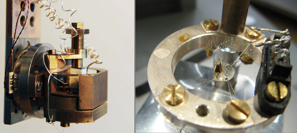 Measurement devices for extreme dimensions: the thermal expansion cell (left) facilitates measuring changes in length of less than one nanometre, i.e. one millionth of a millimetre, at temperatures between 6 and 0.05 Kelvin – this is -267.15, or 273.1 degrees Celsius. In this way, they can observe the phase transition between ferromagnetic and paramagnetic states, during which the volume of the sample changes. With the instrument at the right, the researchers measure how much heat their sample absorbs or gives off in high magnetic fields and at low temperatures. This reveals to the researchers which type of phase transition the material has passed through.