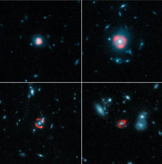 Montage, combining data from ALMA with images from the NASA/ESA Hubble Space Telescope, for five distant galaxies. The ALMA images, represented in red, show the distant, background galaxies, being distorted by the gravitational lens effect produced by the galaxies in the foreground, depicted in the Hubble data in blue. The background galaxies appear warped into rings of light known as Einstein rings, which encircle the foreground galaxies.