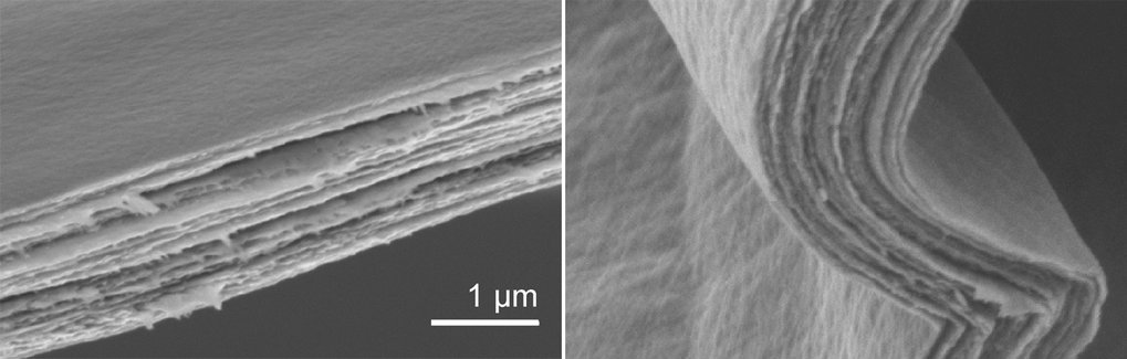 Layered ceramic paper: Scanning electron micrographs show the stacked layers of vanadium pentoxide and water in the composite. The material is so elas