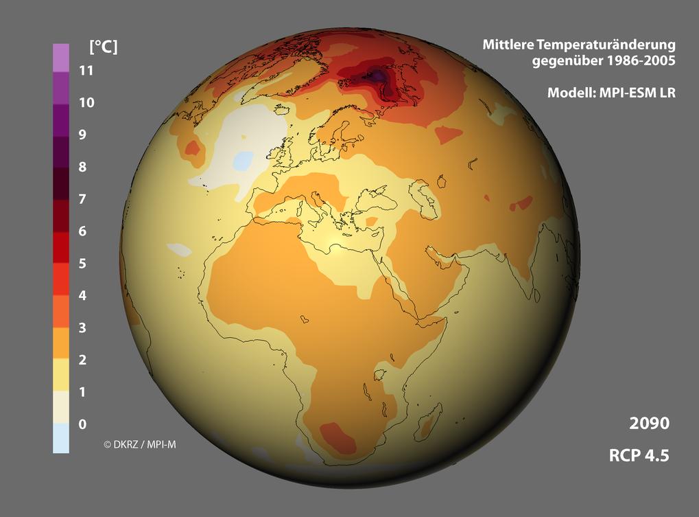 Keine Entwarnung bei der Erwärmung: Die Temperatur an der Erdoberfläche wird weiter steigen, besonders drastisch an den Polen. Die Simulatio