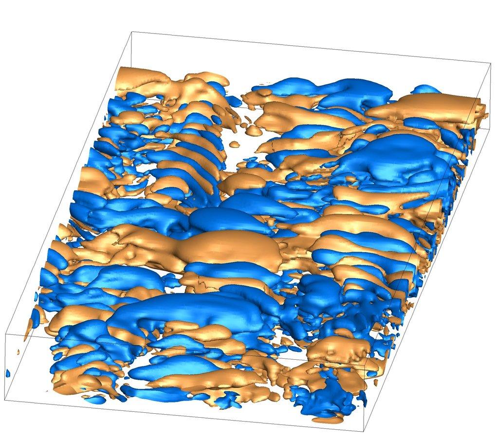 Bei der elasto-inertialen Turbulenz durchsetzen turbulente Gebiete die gesamte Strömung. Zudem sind sie senkrecht zur Strömungsrichtung, die