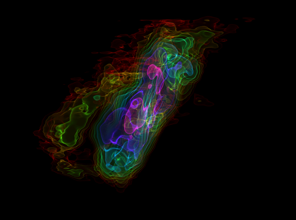 False-colour visualization of the data collected by ALMA of the starburst galaxy NGC 253. The colour encodes information about the intensity of light received from the gas, from fainter light shown blue to brighter radiation in red. This and similar visualizations helped the astronomers to identify the molecular outflow emerging from the central starburst in this galaxy. This image is the cover image of the July 25, 2013 issue of the journal Nature.