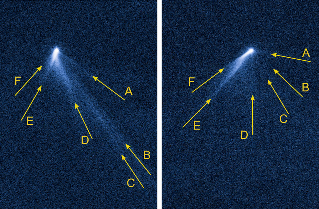 An eccentric: Images taken by the Hubble space telescope on 10 September (left) and 23 September 2013 show P/2013 P5 with six tails, which surround it