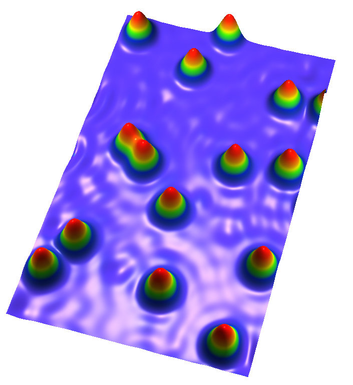 <p>Individual atoms can store data: The image taken by a scanning tunneling microscope shows holmium atoms on a platinum surface. In this quantum syst