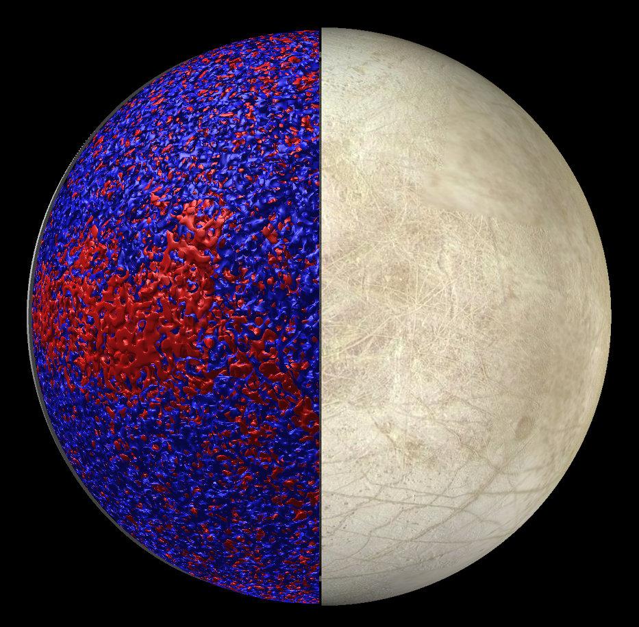 <p>Ozean unter der Haut: Die neuen Simulationen zeigen, dass das Wasser in Europas Äquatorregion wärmer ist als an den Polen. In der linken