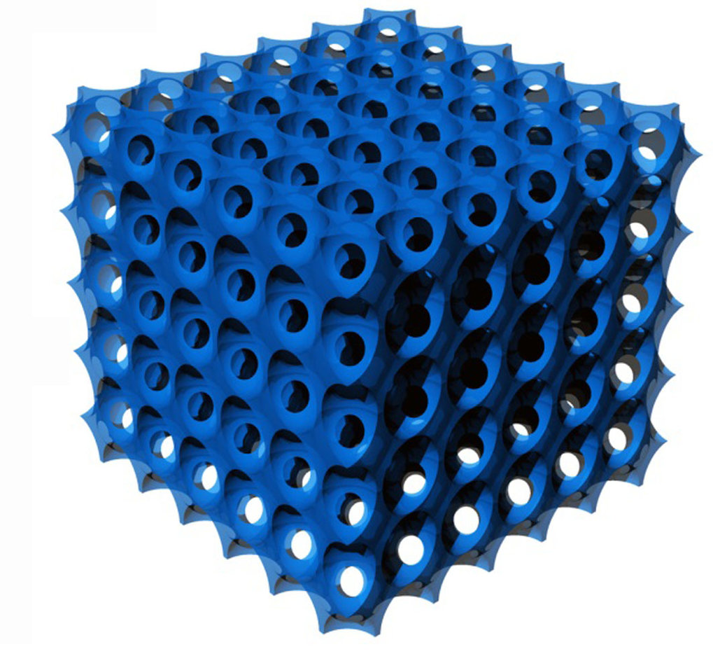 Pore distribution in the glass filament resembles stacked, pallet-like egg cartons. Each cavity is occupied by one protein molecule, called silicatein