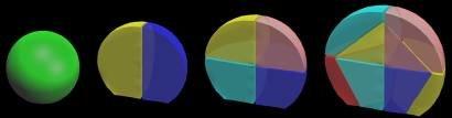 Abb. 4: 3D-Computersimulationsmodell eines wachsenden Embryos von Arabidopsis thaliana mit Innenansicht der vorderen Hälfte. Es beginnt mit der Kugelz