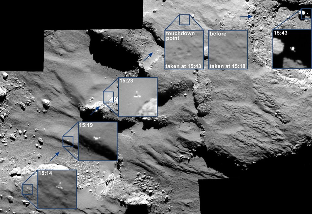 OSIRIS spots Philae's drifting journey across the comet