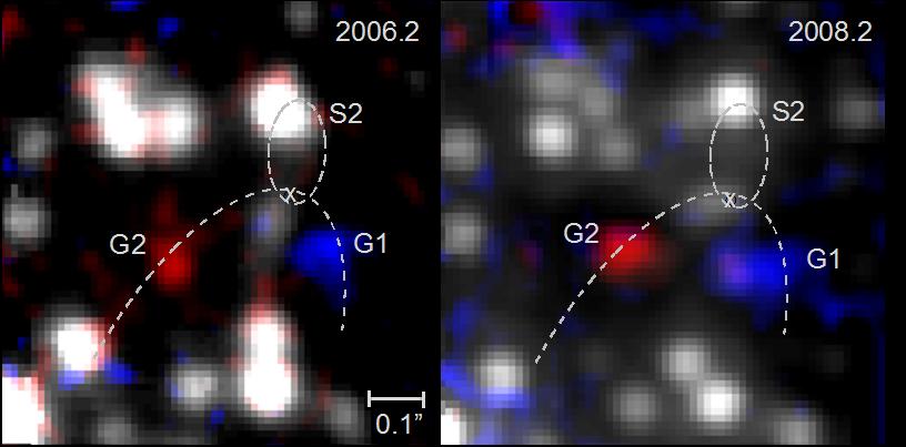 Zwei auf einen Blick: Diese Aufnahmen mit dem SINFONI-Instrument am <em>Very Large Telescope</em> zeigen die beiden Gaswolken G1 (blau) und G2 (rot).