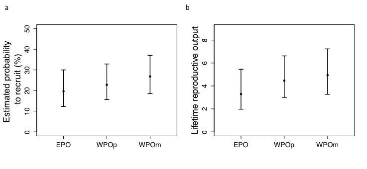 <strong>Abb. 1:</strong> Vergleich der a) Wahrscheinlichkeit, in die Population rekrutiert zu werden, und b) Anzahl von Rekruten, die ein Sperling &uu
