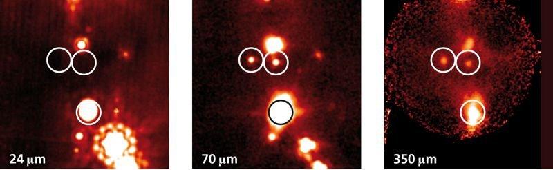 Abb. 1: Drei der PACS Bright Red Sources (PBRS), die mit dem Weltraumteleskop Herschel gefunden wurden. Dabei dürfte es sich um einige der jüngsten be