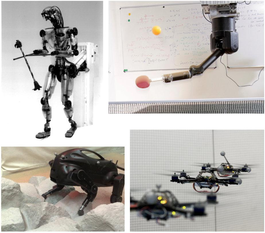 <p><strong>Abb. 3:</strong> Beispiele lernender Roboter (im Uhrzeigersinn, beginnend oben links): Sarcos Humanoid DB mit Devilstick [5]; Tischtennisro