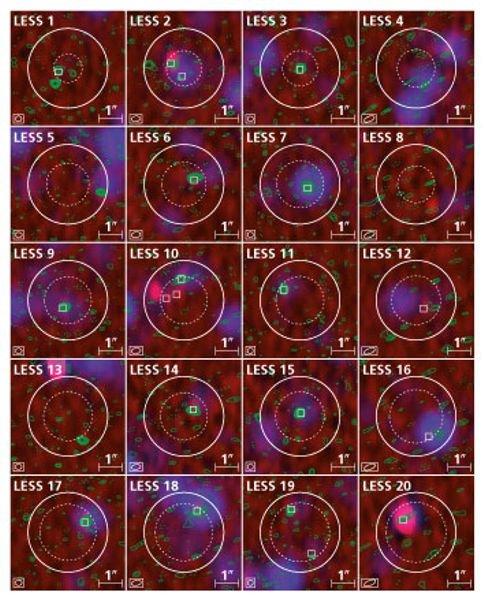 Abb. 3: Konturen der ALMA-Beobachtungen bei 870 µm Wellenlänge (grün) vor dem Hintergrund eines Falschfarbenbildes, das Daten des Very Large Array (VL