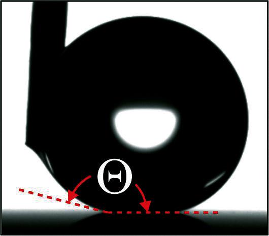 <strong>Abb. 1:</strong> Wassertropfen auf einer stark superhydrophoben Oberfläche mit einem Kontaktwinkel Θ = 170°. Die Nadel links ob