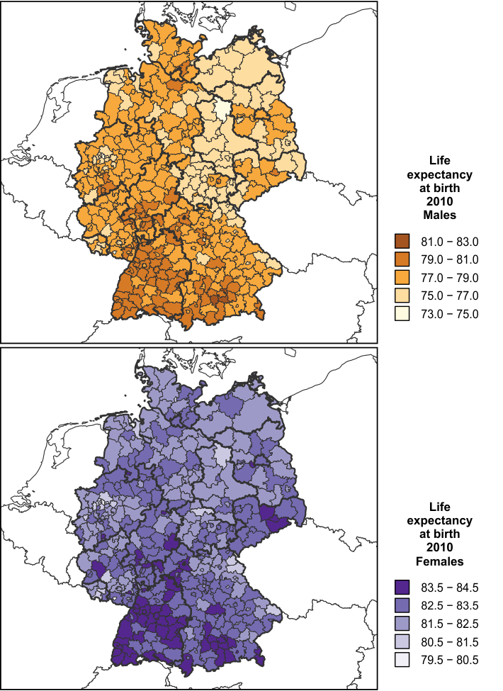 2 regional life expectancy at birth in germany 2010
