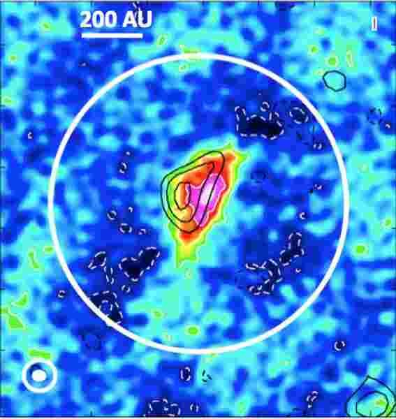"""<strong>Abb. 4:</strong> Ein Bild der zentralen Region (einige hundert Astronomische Einheiten) eines dichten Kerns in der Molekülwolke """"Sc"""