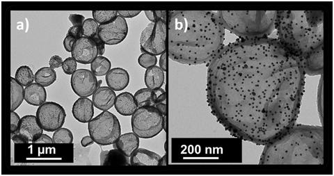 <p><strong>Abb. 4 a-b:</strong> Transmissionselektronenmikroskopische Aufnahmen von Polyanilin-Kapseln mit Gold-Nanopartikeln auf ihren Oberflächen.</
