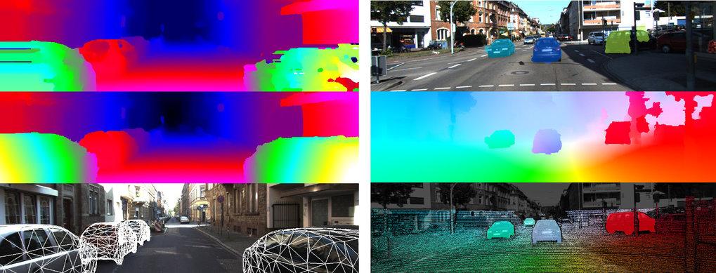 <p><strong>Abb. 1:</strong> Links: Objektwissen wie die 3D-Geometrie von Fahrzeugen (unten) lässt sich nutzen, um Mehrdeutigkeiten aufzulösen und so d