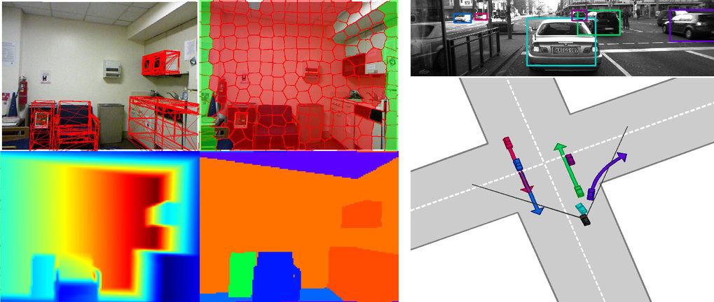<p><strong>Abb. 2:</strong> Links: Schätzung von 3D-Szenen basierend auf Farb- und Tiefenbilddaten. Geometrie- und Kontextwissen unterstützt die Erken