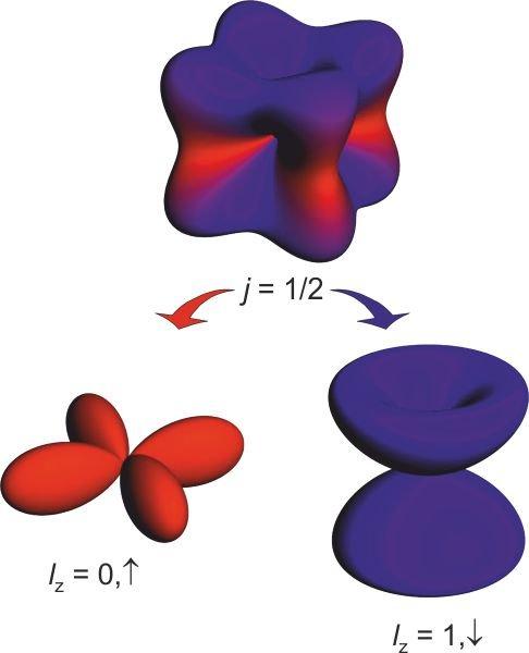 <p><strong>Abb. 3:</strong> Realraum-Darstellung der Wellenfunktion eines <em>J</em><sub>eff</sub> = ½-Isospins [6], welcher sich aus einer Superposit